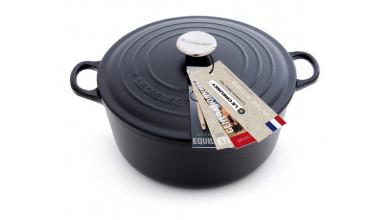 Cocotte round black cast iron 24 cm