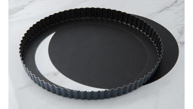Tourtière cannelée Exopan fond mobile - Diamètre 28 cm