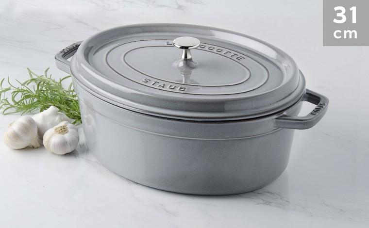 Cocotte Staub Oval graphite grey 31 cm