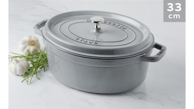 Cocotte Staub Grey oval graphite 33 cm