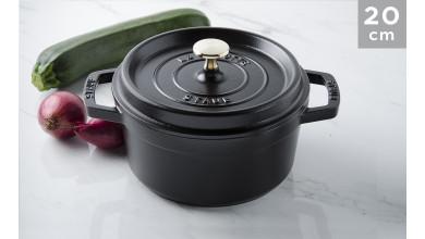 Cocotte black cast iron 20 cm