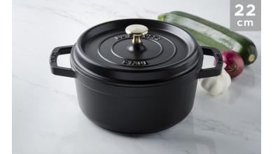 Cocotte black cast iron 22 cm