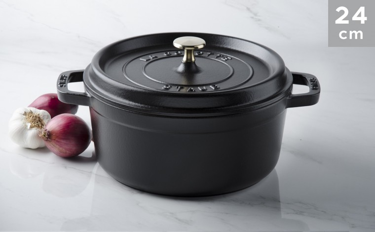 Cocotte black cast iron 24 cm