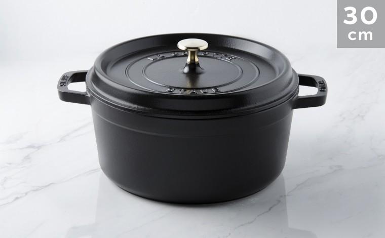 Cocotte black cast iron 30 cm