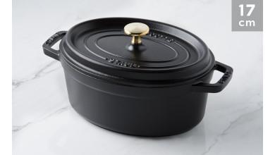 Cocotte oval black cast iron 17 cm