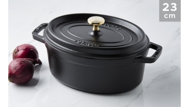 Cocotte oval black cast iron 23 cm