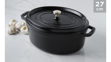 Cocotte oval black cast iron 27 cm