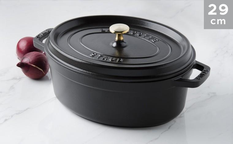 Cocotte oval black cast iron 29 cm