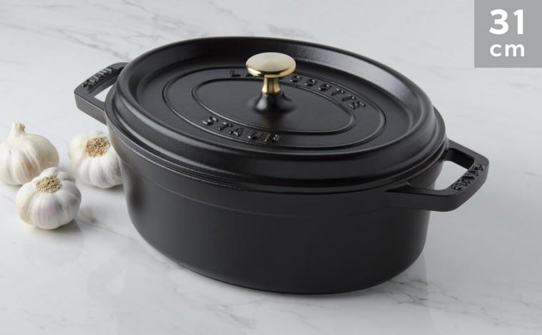 Cocotte oval black cast iron 31 cm