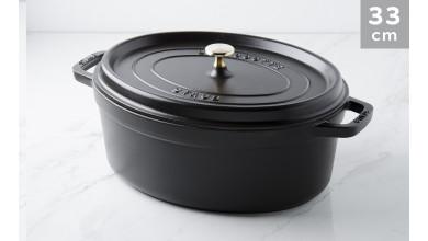 Cocotte oval black cast iron 33 cm