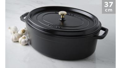 Cocotte oval black cast iron 37 cm