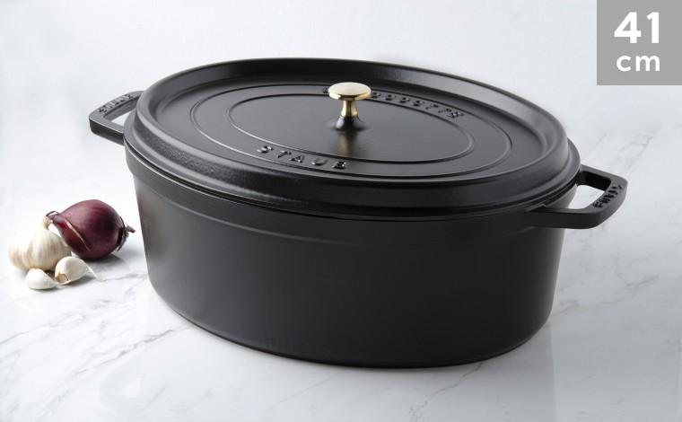 Cocotte oval black cast iron 41 cm