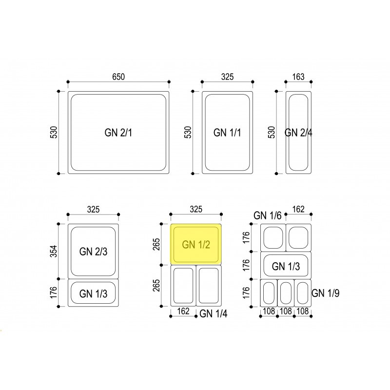 bac inox gn 1 2 hauteur 20 cm colichef. Black Bedroom Furniture Sets. Home Design Ideas