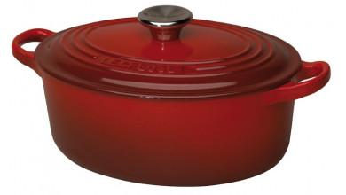 Cocotte oval cherry cast iron 33 cm