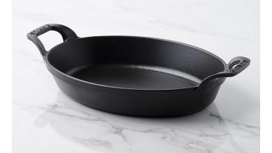 Plat empilable ovale fonte noire 24 cm