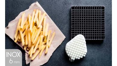 Kit couteau inox et poussoir (6x6 mm) pour coupe-frites