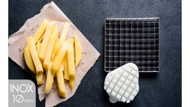 Kit couteau inox et poussoir (10x10 mm) pour coupe-frites